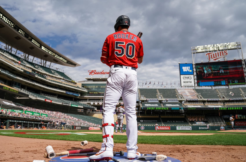 Brent Rooker of the Minnesota Twins looks on during game one of a doubleheader in his major league debut. (Photo by Brace Hemmelgarn/Minnesota Twins/Getty Images)