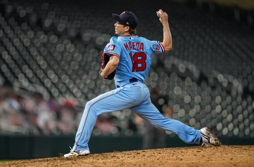 Kenta Maeda of the Minnesota Twins pitches against the Detroit Tigers. (Photo by Brace Hemmelgarn/Minnesota Twins/Getty Images)