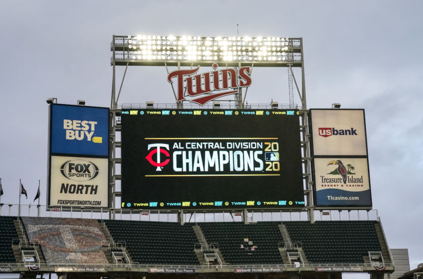 A detail view of the scoreboard honoring the American League Central Division Champion Minnesota Twins following the game against the Cincinnati Reds. (Photo by Brace Hemmelgarn/Minnesota Twins/Getty Images)
