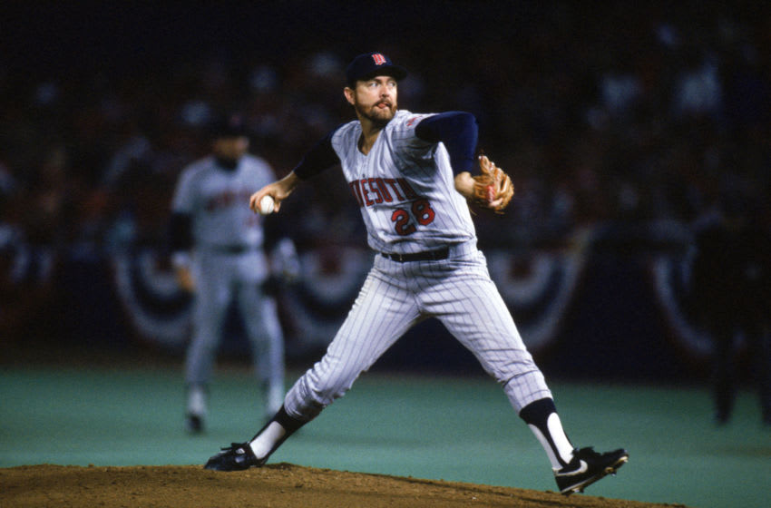 ST. LOUIS - OCTBER 22: Bert Blyleven #28 of the Minnesota Twins winds up for a pitch during game five of the 1987 World Series against the St. Louis Cardinals at Busch Stadium on October 22, 1987 in St. Louis, Missouri. Bert Blyleven played for the Twins from 1970-1976 and from1985-1988. (Photo by Ron Vesely/MLB Photos via Getty Images)