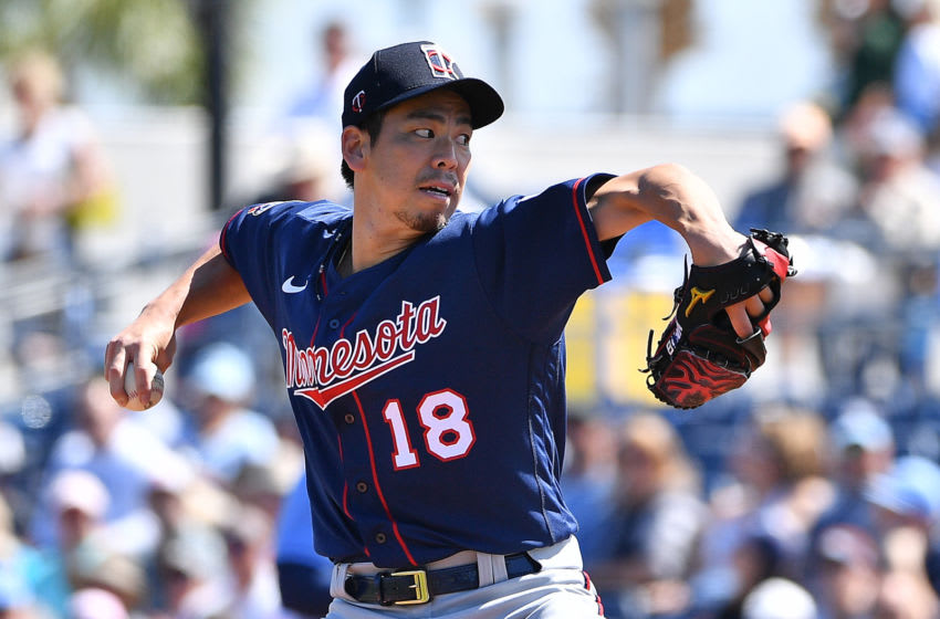 Kenta Maeda of the Minnesota Twins delivers a pitch (Photo by Mark Brown/Getty Images)