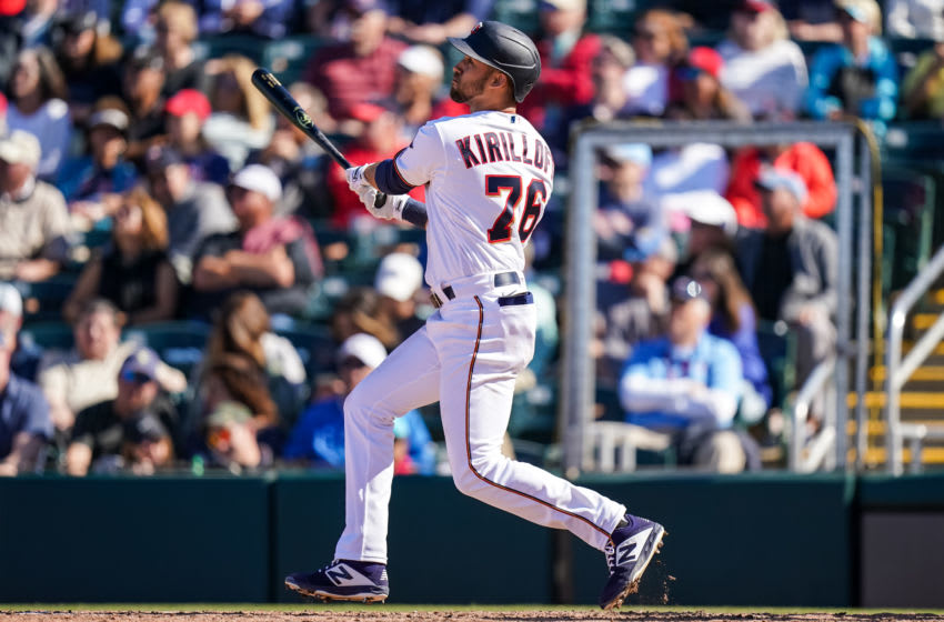 Alex Kirilloff of the Minnesota Twins bats and hits a home run during a spring training game against the Boston Red Sox on February 28, 2020 at the Hammond Stadium in Fort Myers, Florida. (Photo by Brace Hemmelgarn/Minnesota Twins/Getty Images)