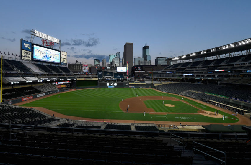 A general view of Target Field as George Floyd is honored with a moment of silence. (Photo by Hannah Foslien/Getty Images)