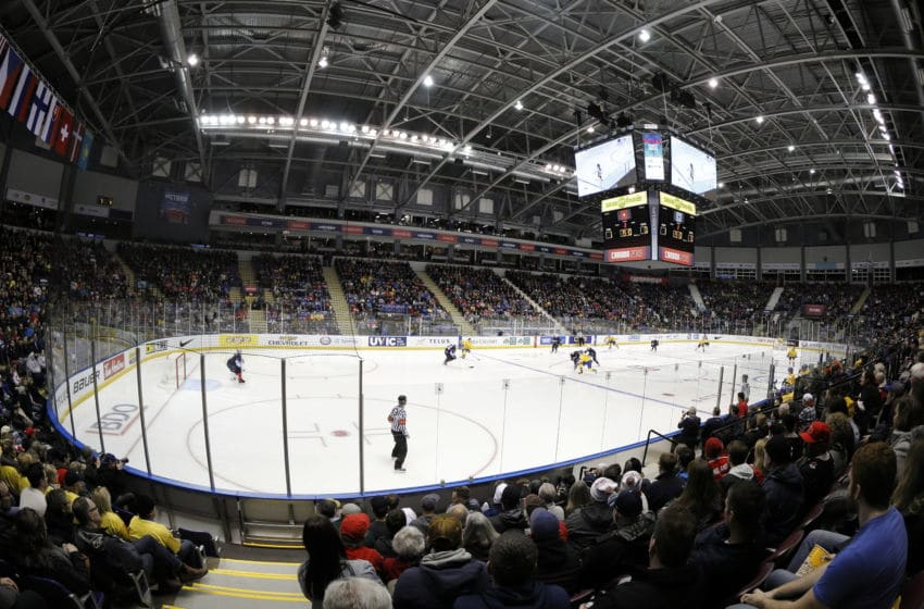 VICTORIA , BC - DECEMBER 29: A general view of the United States versus Sweden at the IIHF World Junior Championships at the Save-on-Foods Memorial Centre on December 29, 2018 in Victoria, British Columbia, Canada. (Photo by Kevin Light/Getty Images)