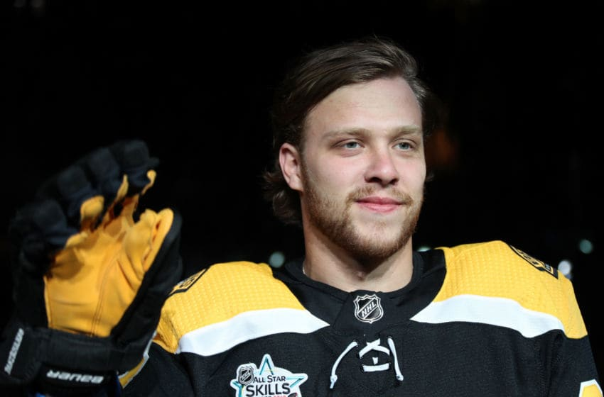 SAN JOSE, CA - JANUARY 25: David Pastrnak #88 of the Boston Bruins acknowledges the fans with a wave of his glove as he is introduced prior to the 2019 SAP NHL All-Star Skills at SAP Center on January 25, 2019 in San Jose, California. (Photo by Dave Sandford/NHLI via Getty Images)