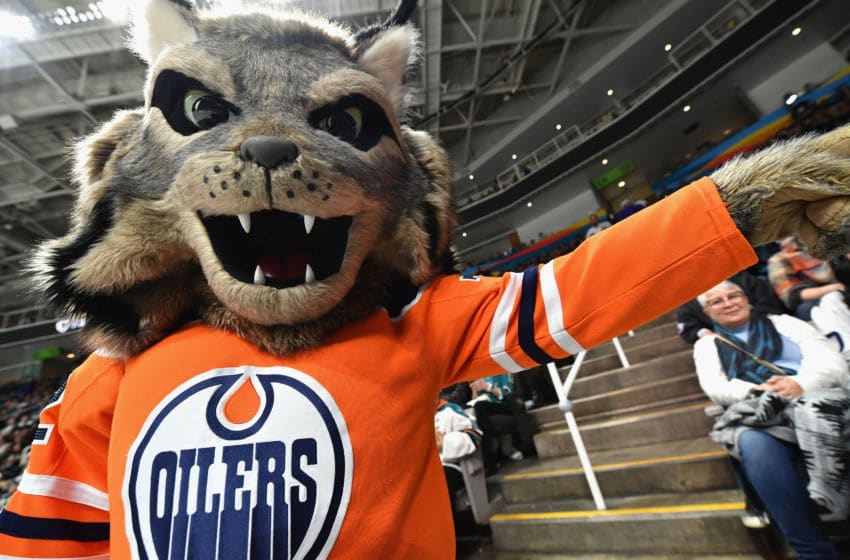 SAN JOSE, CA - JANUARY 26: Hunter the Lynx of the Edmonton Oilers attends the 2019 Honda NHL All-Star Game at SAP Center on January 26, 2019 in San Jose, California. (Photo by Brandon Magnus/NHLI via Getty Images)