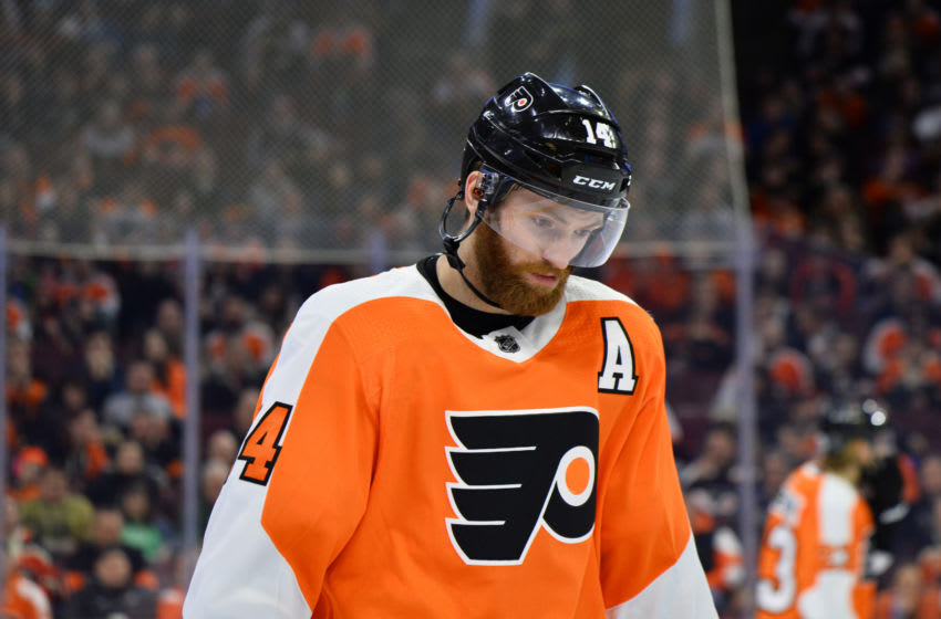 PHILADELPHIA, PA - MARCH 11: Philadelphia Flyers Center Sean Couturier (14) skates between plays in the third period during the game between the Ottawa Senators and Philadelphia Flyers on March 11, 2019 at Wells Fargo Center in Philadelphia, PA. (Photo by Kyle Ross/Icon Sportswire via Getty Images)
