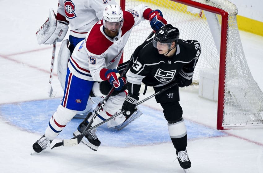 LOS ANGELES, CA - MARCH 5: Jeff Petry #26 of the Montreal Canadiens and Dustin Brown #23 of the Los Angeles Kings battle for position during the second period of the game at STAPLES Center on March 5, 2019 in Los Angeles, California. (Photo by Andrew D. Bernstein/NHLI via Getty Images) *** Local Caption ***