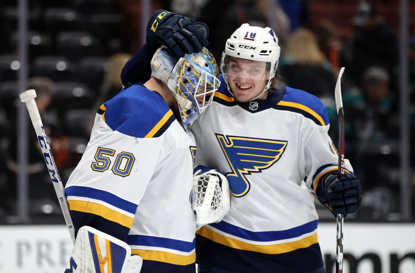 ANAHEIM, CALIFORNIA - MARCH 06: Jordan Binnington #50 is congratulated by Robert Thomas #18 of the St. Louis Blues after defeating the Anaheim Ducks 5-4 in game at Honda Center on March 06, 2019 in Anaheim, California. (Photo by Sean M. Haffey/Getty Images)