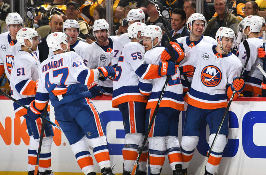 PITTSBURGH, PA - APRIL 14: Anders Lee #27 of the New York Islanders celebrates his goal with teammates during the third period against the Pittsburgh Penguins in Game Three of the Eastern Conference First Round during the 2019 NHL Stanley Cup Playoffs at PPG Paints Arena on April 14, 2019 in Pittsburgh, Pennsylvania. (Photo by Joe Sargent/NHLI via Getty Images)
