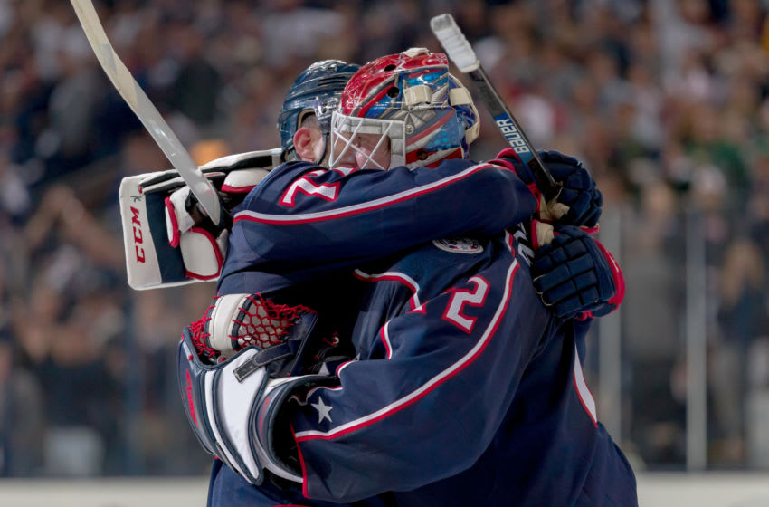 COLUMBUS, OH - APRIL 14: Columbus Blue Jackets left wing Nick Foligno (71) and Columbus Blue Jackets goaltender Sergei Bobrovsky (72) hug after winning game three of a Stanley Cup first round playoff game between the Columbus Blue Jackets and the Tampa Bay Lightning on April 14, 2019 at Nationwide Arena in Columbus, OH. (Photo by Adam Lacy/Icon Sportswire via Getty Images)