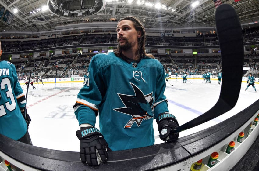 SAN JOSE, CA - APRIL 26: Erik Karlsson #65 of the San Jose Sharks skates during warmups against the Colorado Avalanche in Game One of the Western Conference Second Round during the 2019 NHL Stanley Cup Playoffs at SAP Center on April 26, 2019 in San Jose, California (Photo by Brandon Magnus/NHLI via Getty Images)