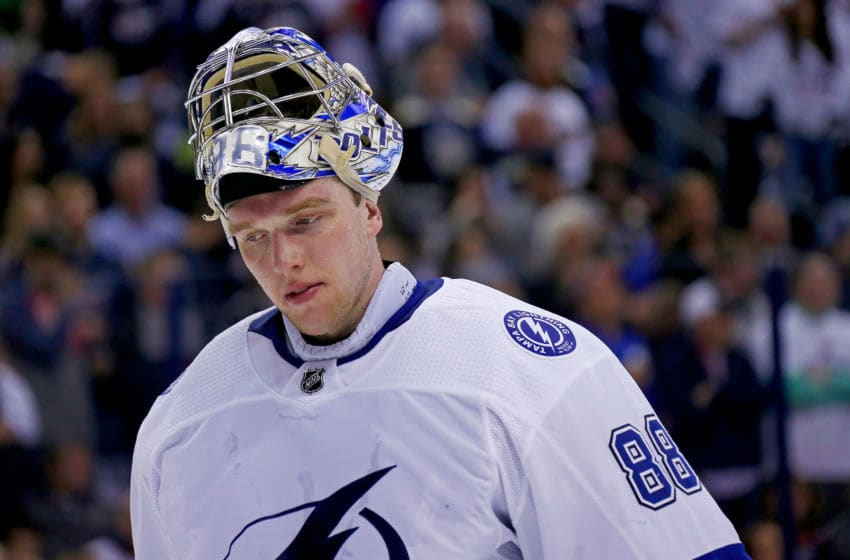 COLUMBUS, OH - APRIL 16: Andrei Vasilevskiy #88 of the Tampa Bay Lightning keeps loose during a stoppage in play in Game Four of the Eastern Conference First Round during the 2019 NHL Stanley Cup Playoffs against the Tampa Bay Lightning on April 16, 2019 at Nationwide Arena in Columbus, Ohio. (Photo by Kirk Irwin/Getty Images)