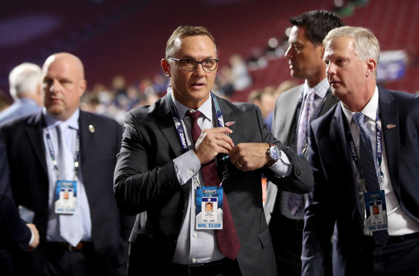 VANCOUVER, BRITISH COLUMBIA - JUNE 21: Steve Yzerman of the Detroit Red Wings attends the first round of the 2019 NHL Draft at Rogers Arena on June 21, 2019 in Vancouver, Canada. (Photo by Bruce Bennett/Getty Images)