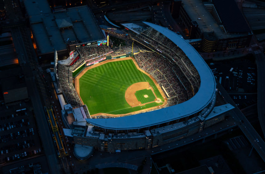 MINNEAPOLIS, MN - AUGUST 09: An aerial view of Target Field during a game between the Minnesota Twins and Cleveland Indians on August 9, 2019 at the Target Field in Minneapolis, Minnesota. The Indians defeated the Twins 6-2. (Photo by Brace Hemmelgarn/Minnesota Twins/Getty Images)