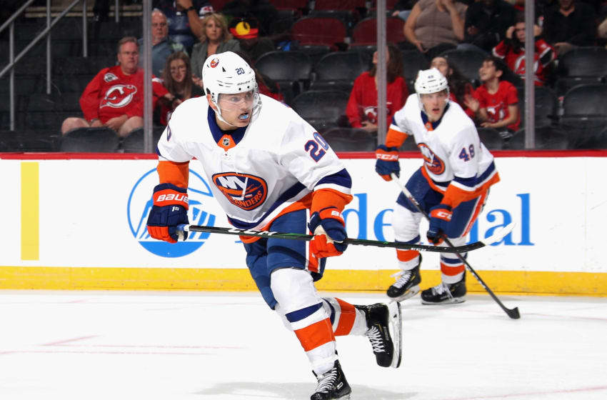NEWARK, NEW JERSEY - SEPTEMBER 21: Kieffer Bellows #20 of the New York Islanders skates against the New Jersey Devils at the Prudential Center on September 21, 2019 in Newark, New Jersey. The Devils defeated the Islanders 4-3. (Photo by Bruce Bennett/Getty Images)