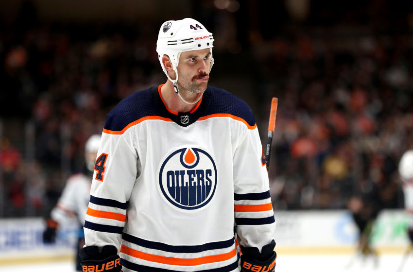 ANAHEIM, CALIFORNIA - NOVEMBER 10: Zack Kassian #44 of the Edmonton Oilers looks on during the third period of a game against the Anaheim Ducks at Honda Center on November 10, 2019 in Anaheim, California. (Photo by Sean M. Haffey/Getty Images)