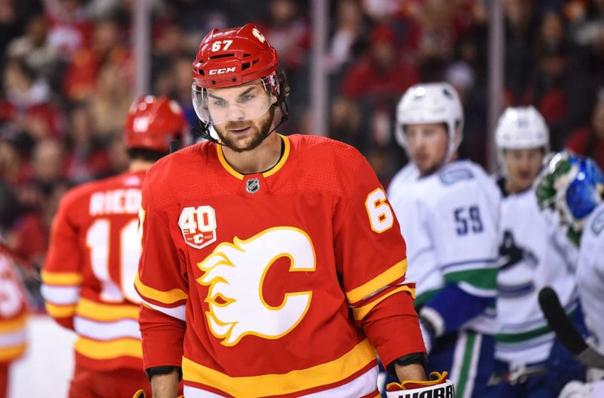 CALGARY, AB - DECEMBER 29: Calgary Flames Right Wing Michael Frolik (67) looks on after a whistle during the first period of an NHL game where the Calgary Flames hosted the Vancouver Canucks on December 29, 2019, at the Scotiabank Saddledome in Calgary, AB. (Photo by Brett Holmes/Icon Sportswire via Getty Images)