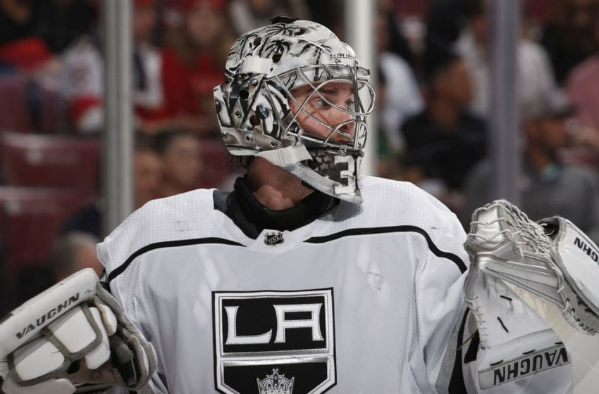 SUNRISE, FL - JANUARY 16: Goaltender Jack Campbell #36 of the Los Angeles Kings looks up ice during a break in action against the Florida Panthers at the BB&T Center on January 16, 2020 in Sunrise, Florida. (Photo by Joel Auerbach/Icon Sportswire via Getty Images)