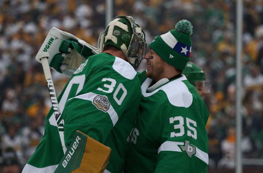 Ben Bishop #30 and Anton Khudobin #35, Dallas Stars (Photo by Ronald Martinez/Getty Images)