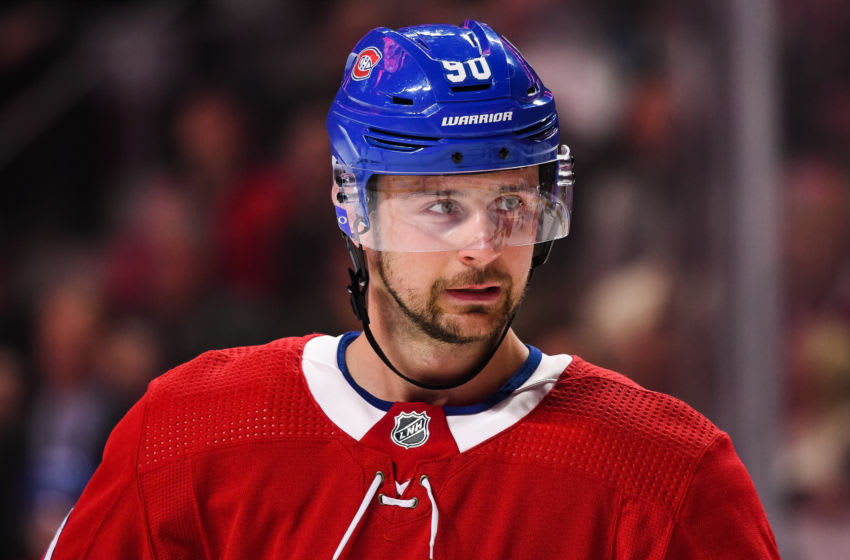 MONTREAL, QC - FEBRUARY 02: Look on Montreal Canadiens left wing Tomas Tatar (90) during the Columbus Blue Jackets versus the Montreal Canadiens game on February 02, 2020, at Bell Centre in Montreal, QC (Photo by David Kirouac/Icon Sportswire via Getty Images)