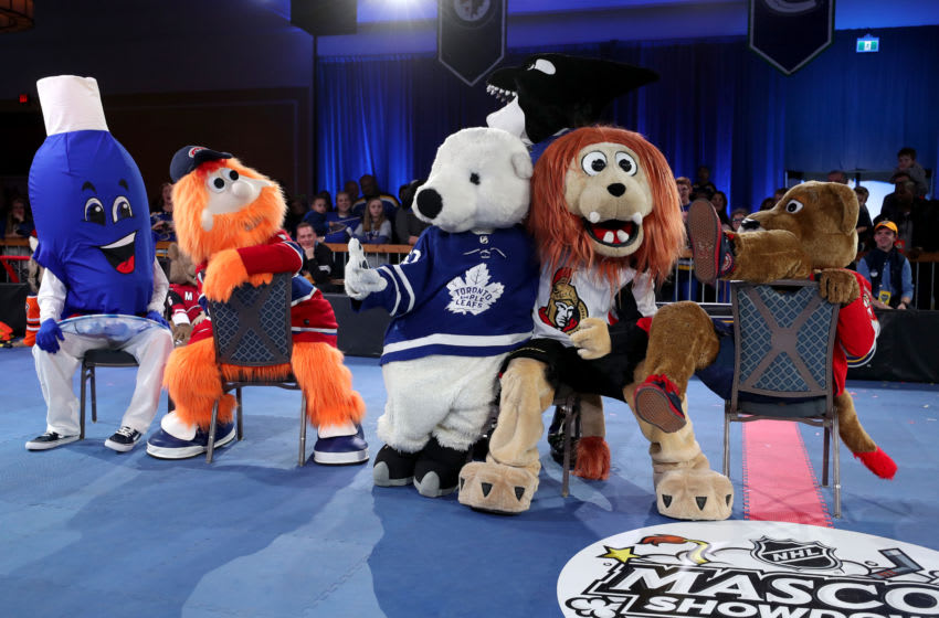 ST LOUIS, MISSOURI - JANUARY 23: (L-R) Mascots Sudz, Youppi of the Montreal Canadiens, ThunderBug of the Tampa Bay Lightning, Youppi of the Montreal Canadiens, Carlton the Bear of the Toronto Maple Leafs, Spartacat of the Ottawa Senators and Stanley C. Panther of the Florida Panthers participate in a game of musical chairs during the 2020 NHL All-Star weekend at St. Louis Union Station on January 23, 2020 in St Louis, Missouri. (Photo by Chase Agnello-Dean/NHLI via Getty Images)