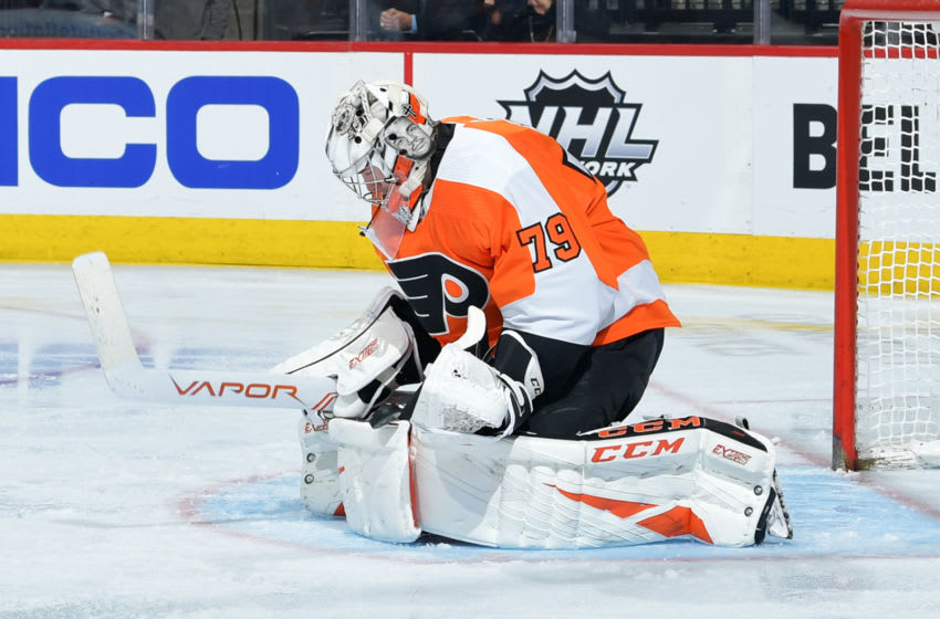 Carter Hart #79 of the Philadelphia Flyers (Photo by Drew Hallowell/Getty Images)