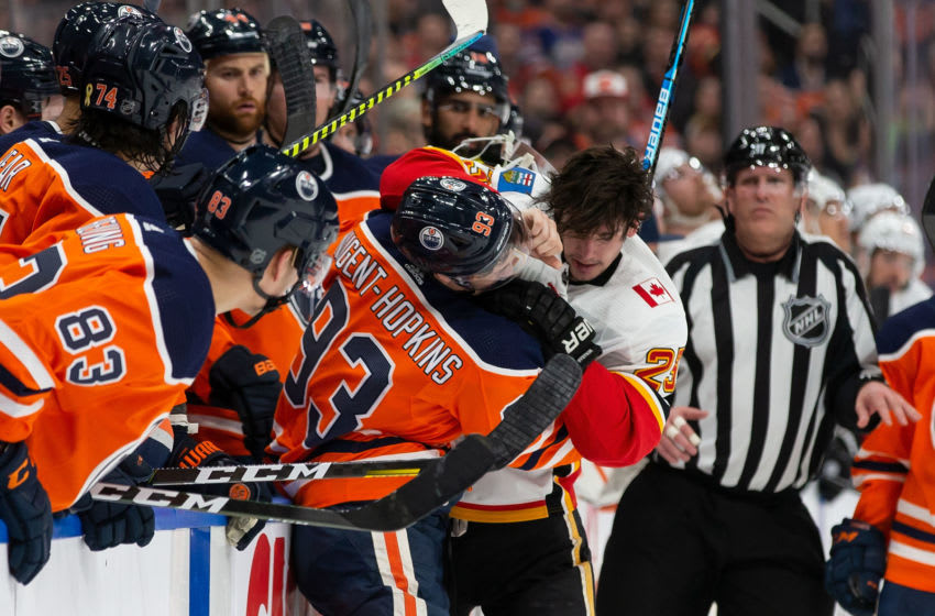 Ryan Nugent-Hopkins #93 of the Edmonton Oilers and Sean Monahan #23 of the Calgary Flames (Photo by Codie McLachlan/Getty Images)