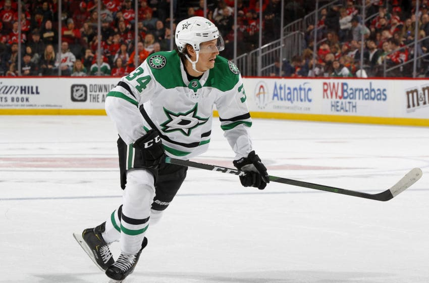 NEWARK, NEW JERSEY - FEBRUARY 01: Denis Gurianov #34 of the Dallas Stars in action against the New Jersey Devils at Prudential Center on February 01, 2020 in Newark, New Jersey. The Stars defeated the Devils 3-2 in overtime. (Photo by Jim McIsaac/Getty Images)