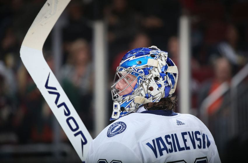 GLENDALE, ARIZONA - FEBRUARY 22: Goaltender Andrei Vasilevskiy #88 of the Tampa Bay Lightning during the NHL game against the Arizona Coyotes at Gila River Arena on February 22, 2020 in Glendale, Arizona. (Photo by Christian Petersen/Getty Images)