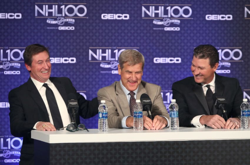 LOS ANGELES, CA - JANUARY 27: (L-R) Former NHL players Wayne Gretzky, Bobby Orr and Mario Lemieux speak onstage during the NHL 100 Media Availability as part of the 2017 NHL All-Star Weekend at the JW Marriott on January 27, 2017 in Los Angeles, California. (Photo by Chase Agnello-Dean/NHLI via Getty Images)