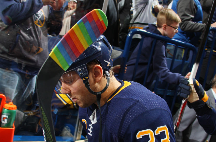 BUFFALO, NY - FEBRUARY 6: Sam Reinhart #23 of the Buffalo Sabres uses rainbow-colored hockey stick tape during Hockey Is For Everyone month before an NHL game against the Anaheim Ducks on February 6, 2018 at KeyBank Center in Buffalo, New York. (Photo by Bill Wippert/NHLI via Getty Images)