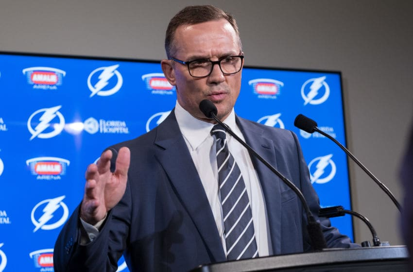 TAMPA, FL - FEBRUARY 26: General Manager Steve Yzerman of the Tampa Bay Lightning discusses the trades from earlier in the day during a press conference before the game against the Toronto Maple Leafs at Amalie Arena on February 26, 2018 in Tampa, Florida. (Photo by Scott Audette/NHLI via Getty Images)