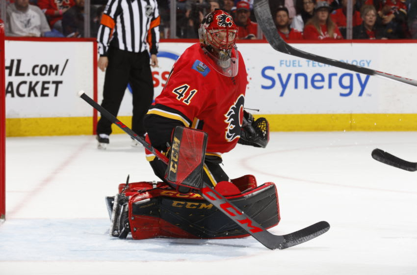 CALGARY, AB - MARCH 31: Mike Smith #41 of the Calgary Flames skates against the Edmonton Oilers during an NHL game on March 31, 2018 at the Scotiabank Saddledome in Calgary, Alberta, Canada. (Photo by Gerry Thomas/NHLI via Getty Images)