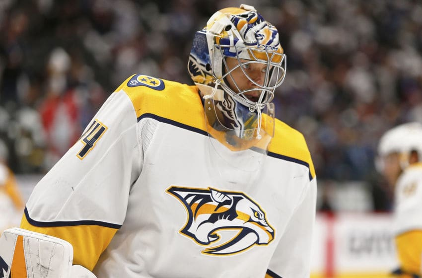DENVER, CO - MARCH 28: Nashville Predators goalie Juuse Saros (74) during a first round playoff game between the Colorado Avalanche and the visiting Nashville Predators on April 16, 2018 at the Pepsi Center in Denver, CO. (Photo by Russell Lansford/Icon Sportswire via Getty Images)