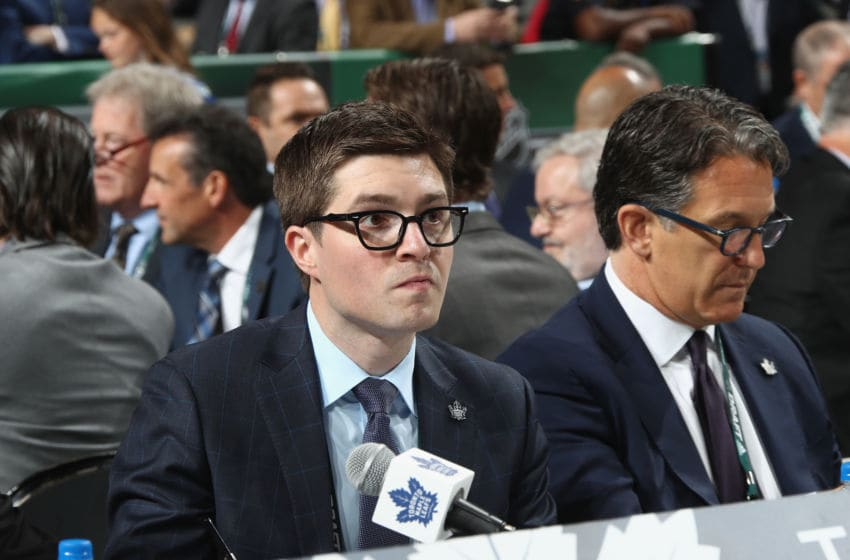 DALLAS, TX - JUNE 23: Kyle Dubas of the Toronto Maple Leafs attends the 2018 NHL Draft at American Airlines Center on June 23, 2018 in Dallas, Texas. (Photo by Bruce Bennett/Getty Images)