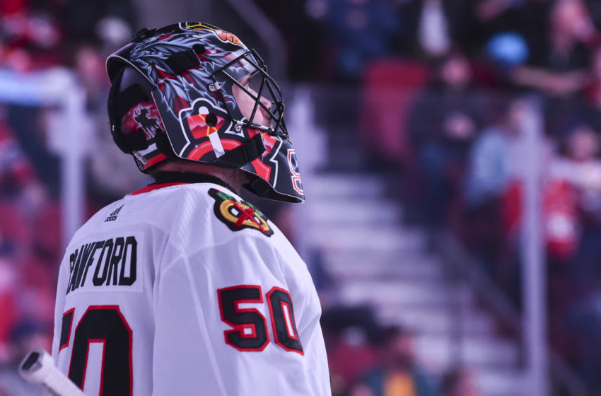 Goaltender Corey Crawford #50 of the Chicago Blackhawks. (Photo by Minas Panagiotakis/Getty Images)