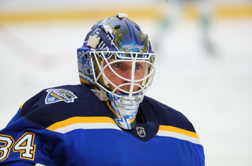 Jake Allen #34 of the St. Louis Blues (Photo by Dilip Vishwanat/Getty Images)