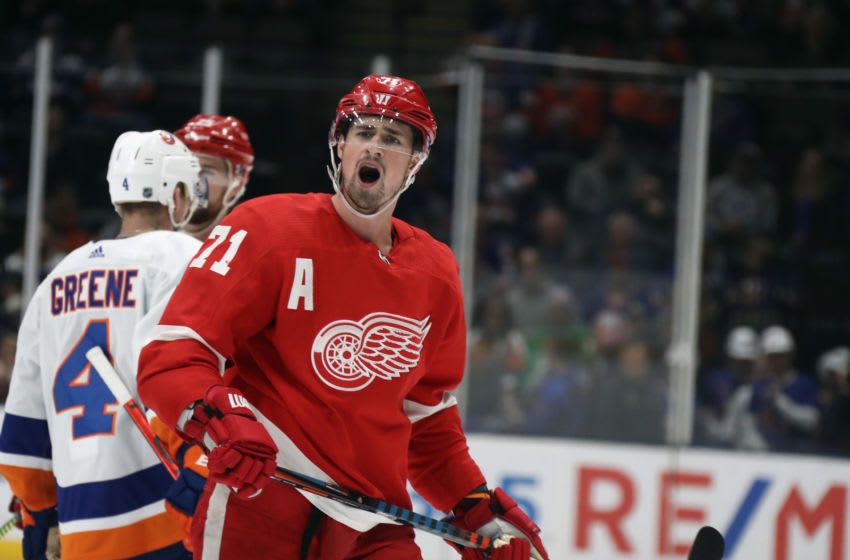 Dylan Larkin #71 of the Detroit Red Wings. (Photo by Bruce Bennett/Getty Images)