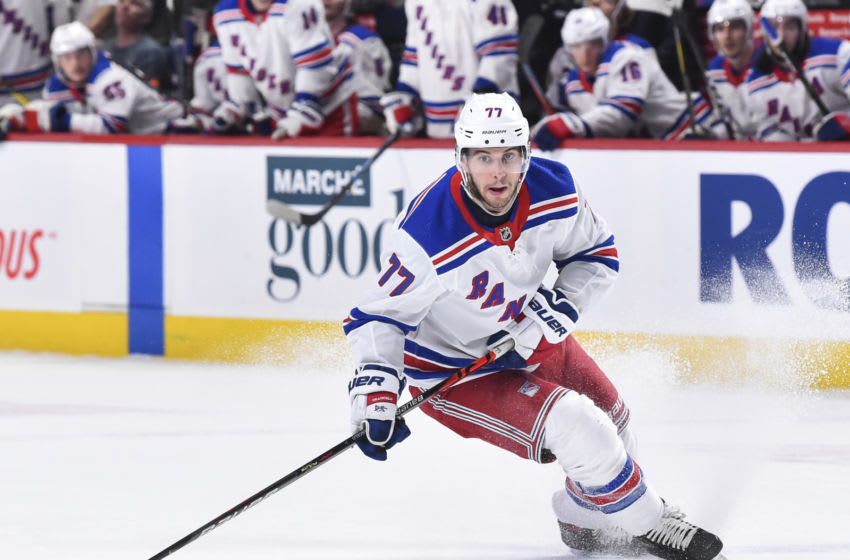Tony DeAngelo #77 of the New York Rangers (Photo by Minas Panagiotakis/Getty Images)