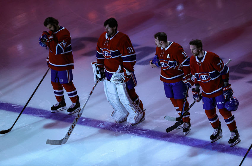 Carey Price #31 of the Montreal Canadiens stands for the national anthems prior to Game Four of the Eastern Conference First Round against the Philadelphia Flyers. (Photo by Elsa/Getty Images)