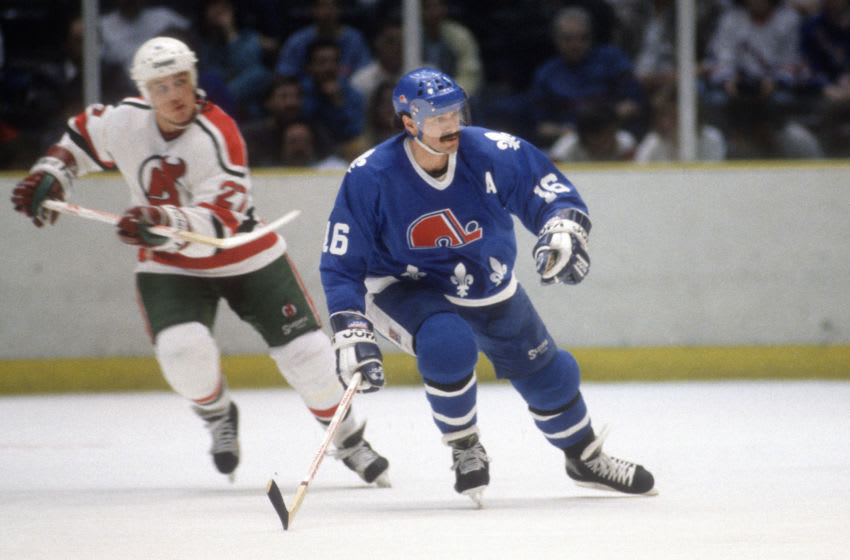 Michael Goulet #16 of the Quebec Nordiques. (Photo by Focus on Sport/Getty Images)