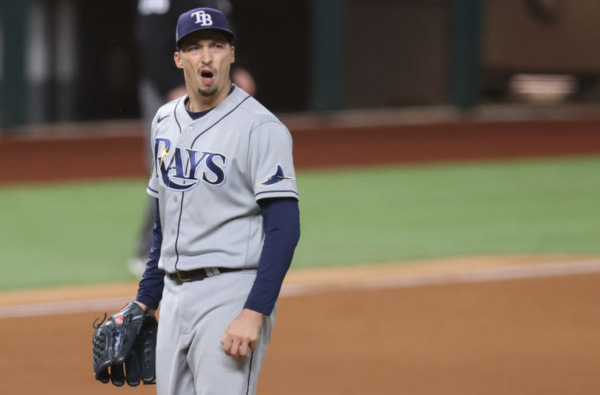 Blake Snell #4 of the Tampa Bay Rays reacts as he is being taken out of the game against the Los Angeles Dodgers during the sixth inning in Game Six of the 2020 MLB World Series. (Photo by Tom Pennington/Getty Images)