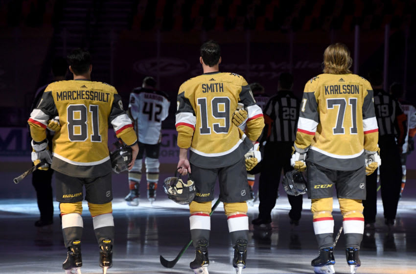 Jonathan Marchessault #81, Reilly Smith #19 and William Karlsson #71 of the Vegas Golden Knights. (Photo by Ethan Miller/Getty Images)