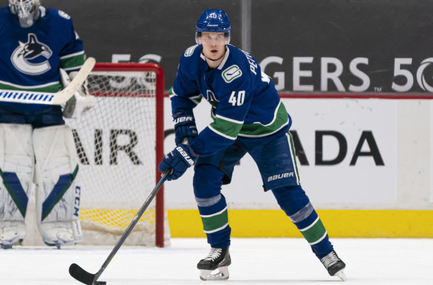 Elias Pettersson #40 of the Vancouver Canucks. (Photo by Rich Lam/Getty Images)