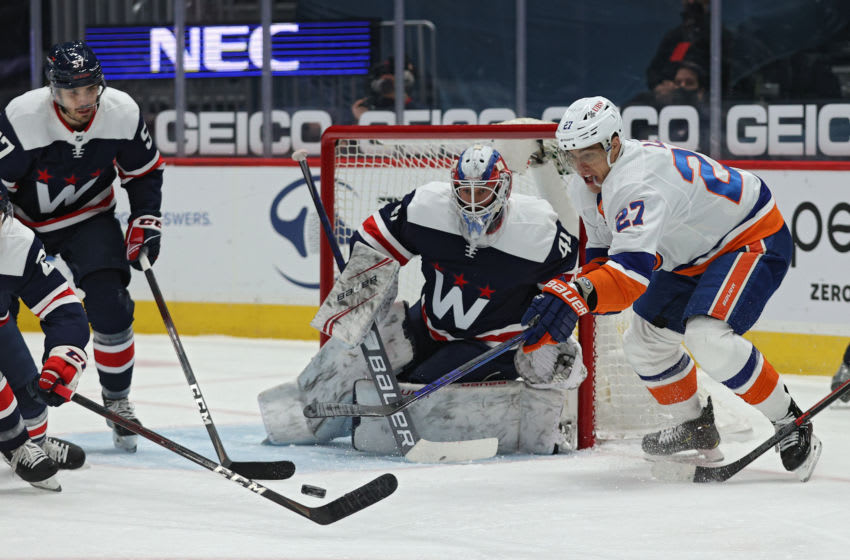 Anders Lee #27 of the New York Islanders. (Photo by Patrick Smith/Getty Images)