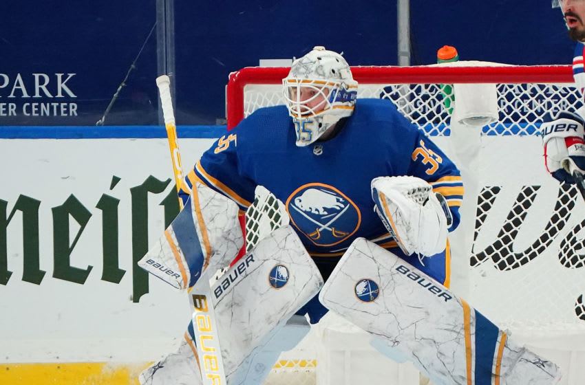 Linus Ullmark #35 of the Buffalo Sabres. (Photo by Kevin Hoffman/Getty Images)