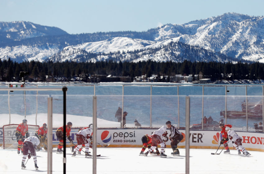 The Vegas Golden Knights skate against the Colorado Avalanche during the NHL Outdoors at Lake Tahoe. (Photo by Ezra Shaw/Getty Images)