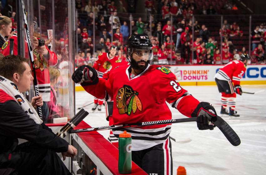CHICAGO, IL - APRIL 02: Johnny Oduya #27 of the Chicago Blackhawks warms up prior to the game against the Boston Bruins at the United Center on April 2, 2017 in Chicago, Illinois. (Photo by Bill Smith/NHLI via Getty Images)