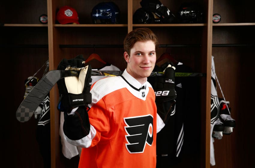 Nolan Patrick, second overall pick of the Philadelphia Flyers, poses for a portrait during Round One of the 2017 NHL Draft. (Jeff Vinnick/NHLI via Getty Images)